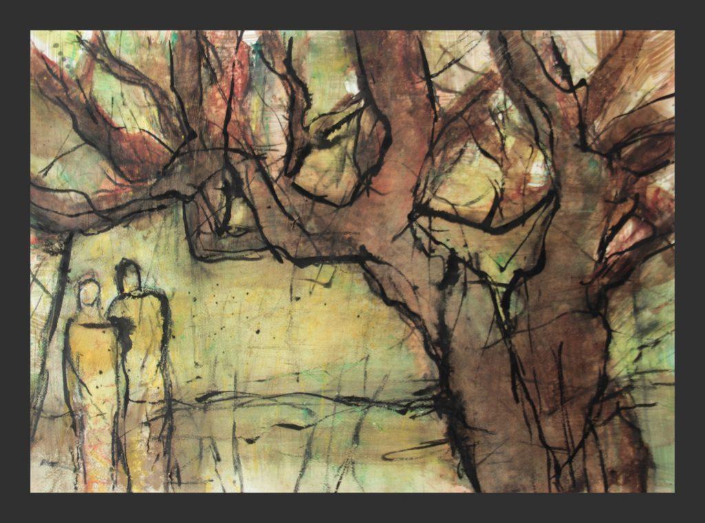 Unter dem Baum, 2016, Aquarell, 50x70 cm