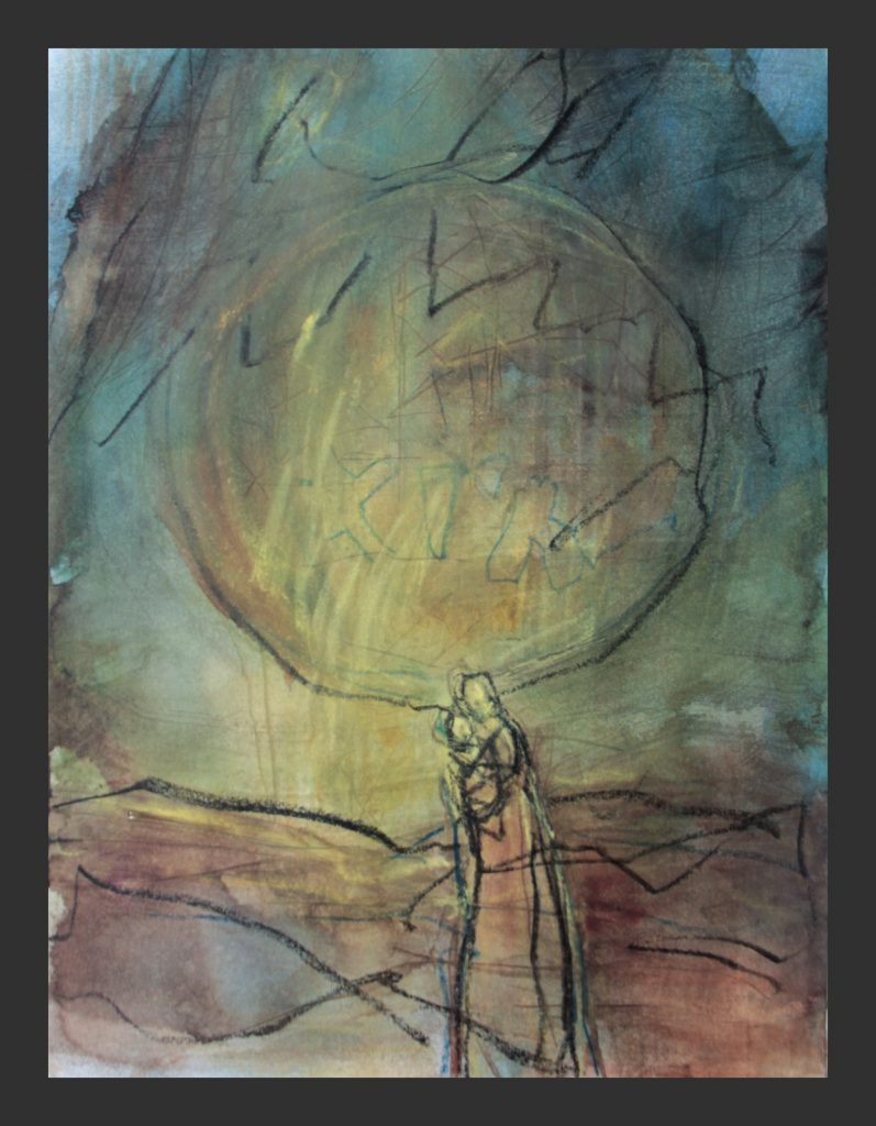 Madonna, 2015, Aquarell und Pastellkreide, 30x40 cm