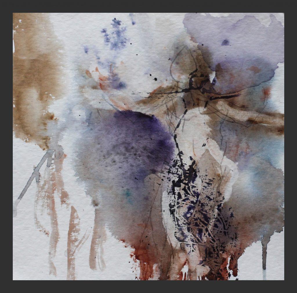Tänzer in lila, 2012, Aquarell, 25x25 cm