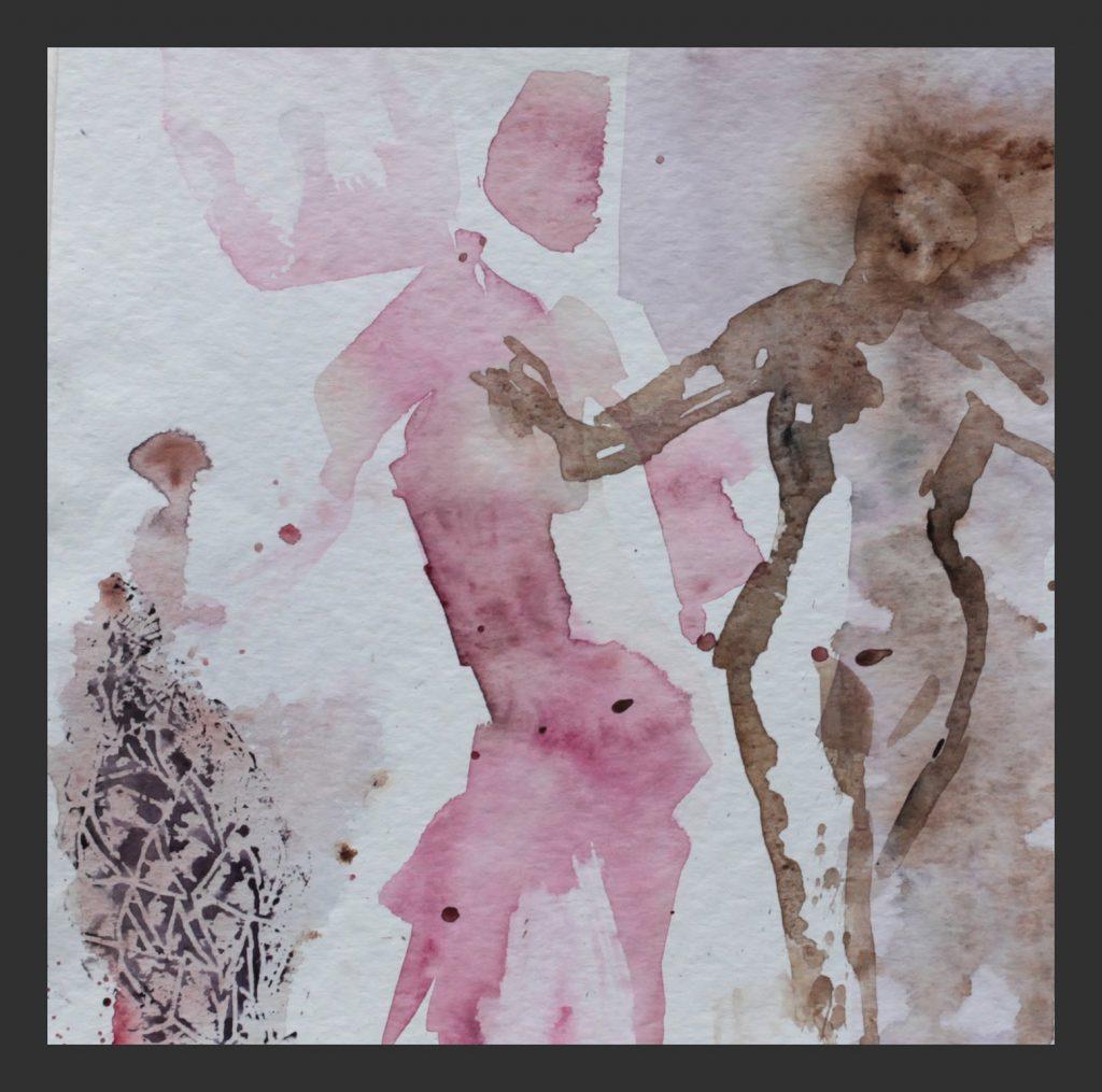 Tänzer in rosa, 2012, Aquarell, 25x25 cm