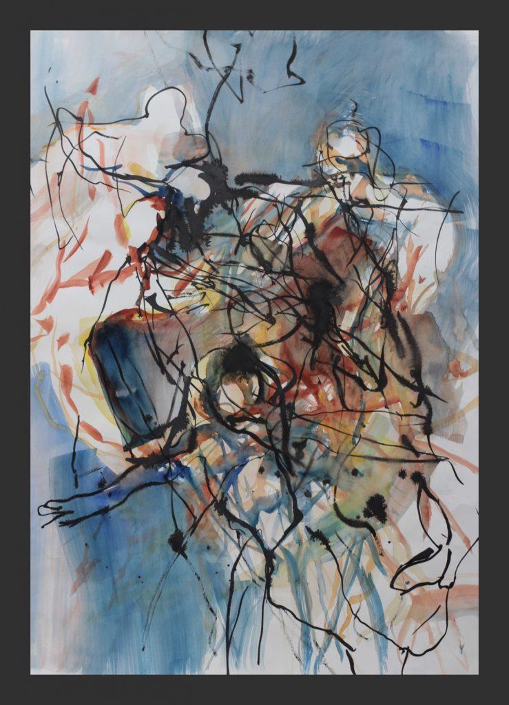Tänzer in Blau, 2013, Aquarell, 50x70 cm