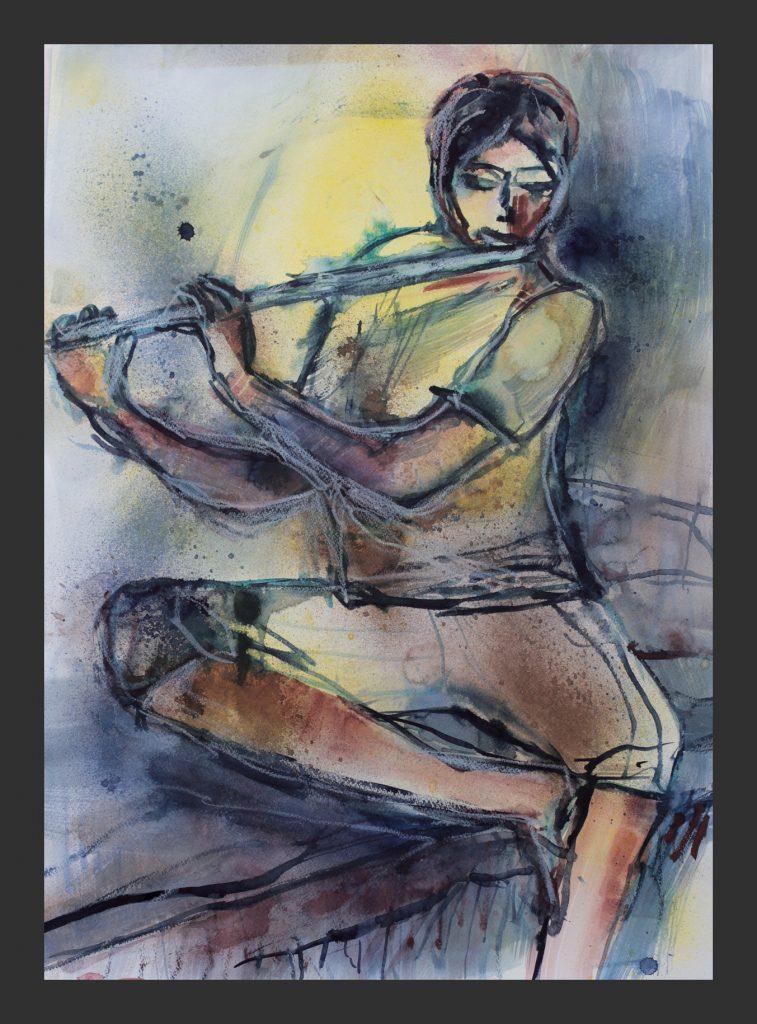 Flötenspieler, 2014, Aquarell, 50x70 cm