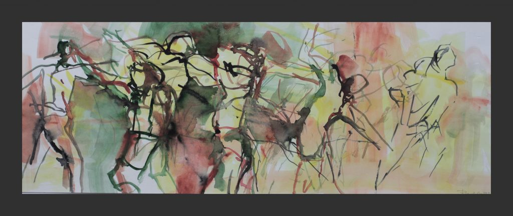 Tänzer, 2012, Aquarell, 20x70 cm