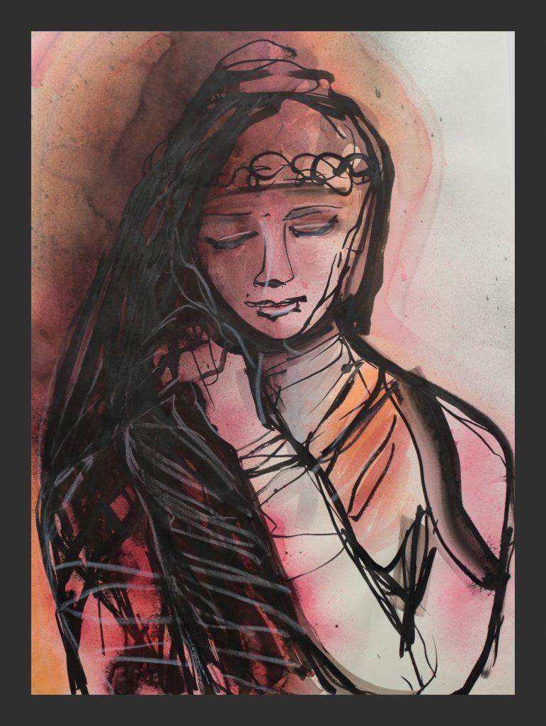 Meditation, 2013, Aquarell und Tusche, 50x70 cm