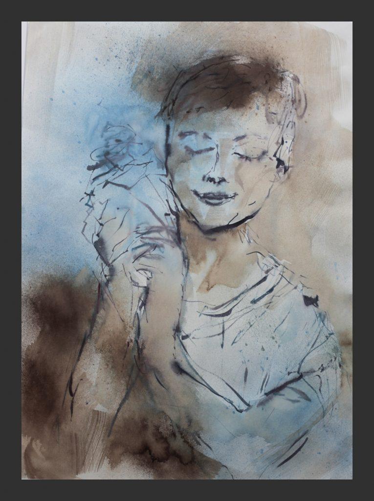 Junge mit Muschel, 2013, Aquarell, 50x70 cm
