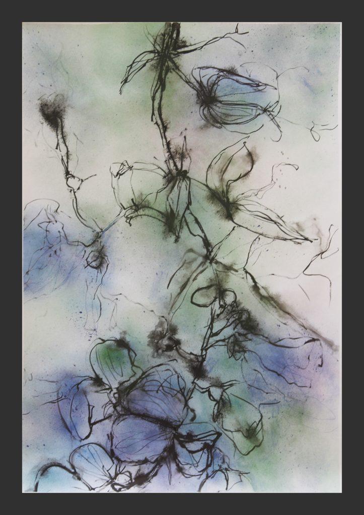 Wicken, blau, Aquarell, 60x120cm
