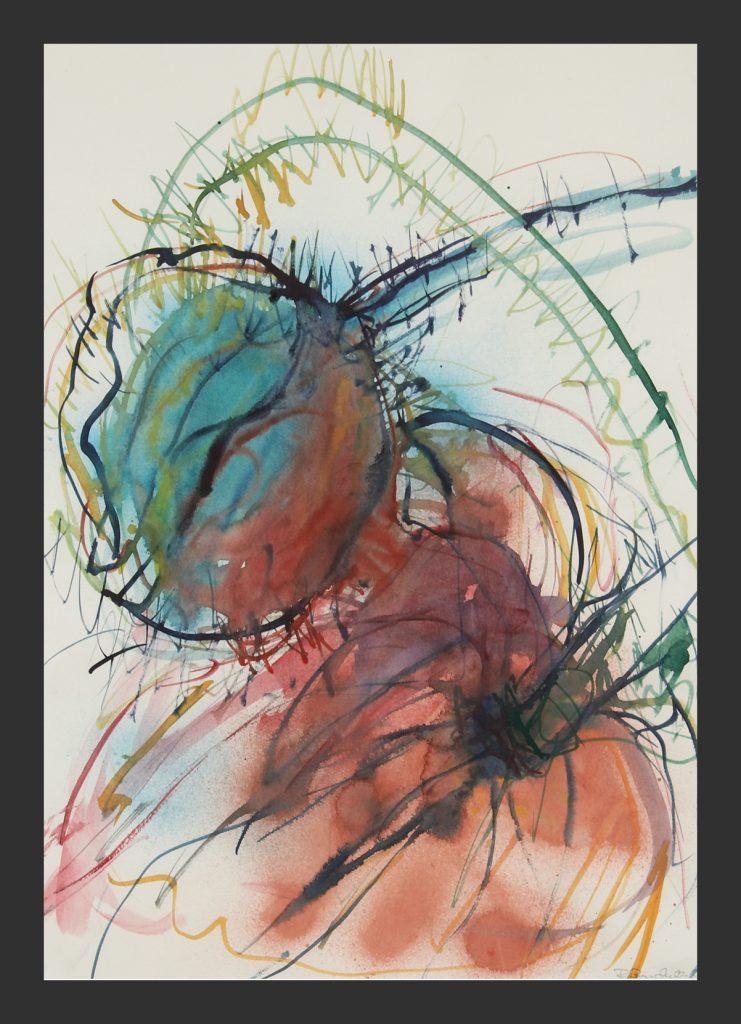 Mohn, farbig, Aquarell,50x70 cm