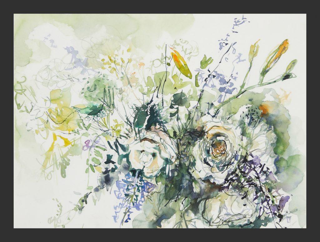 Weiße Rosen, Aquarell, 30x40 cm