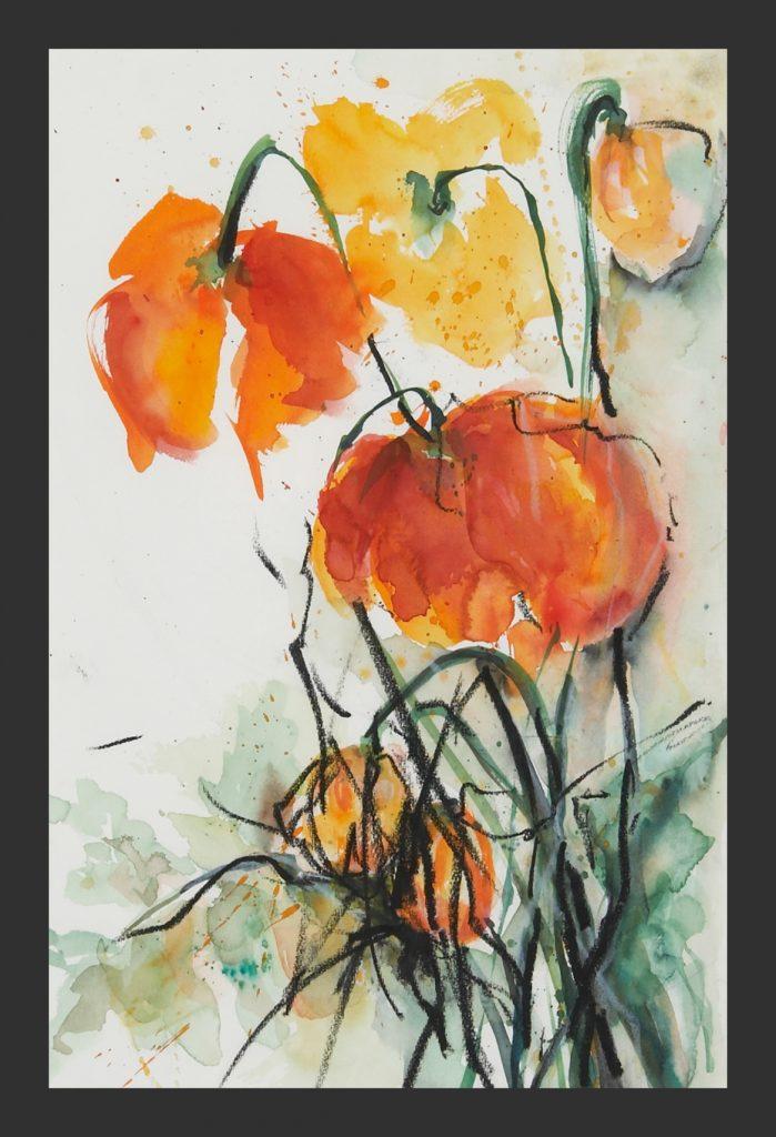 Mohnblüten, Aquarell, 30x40 cm