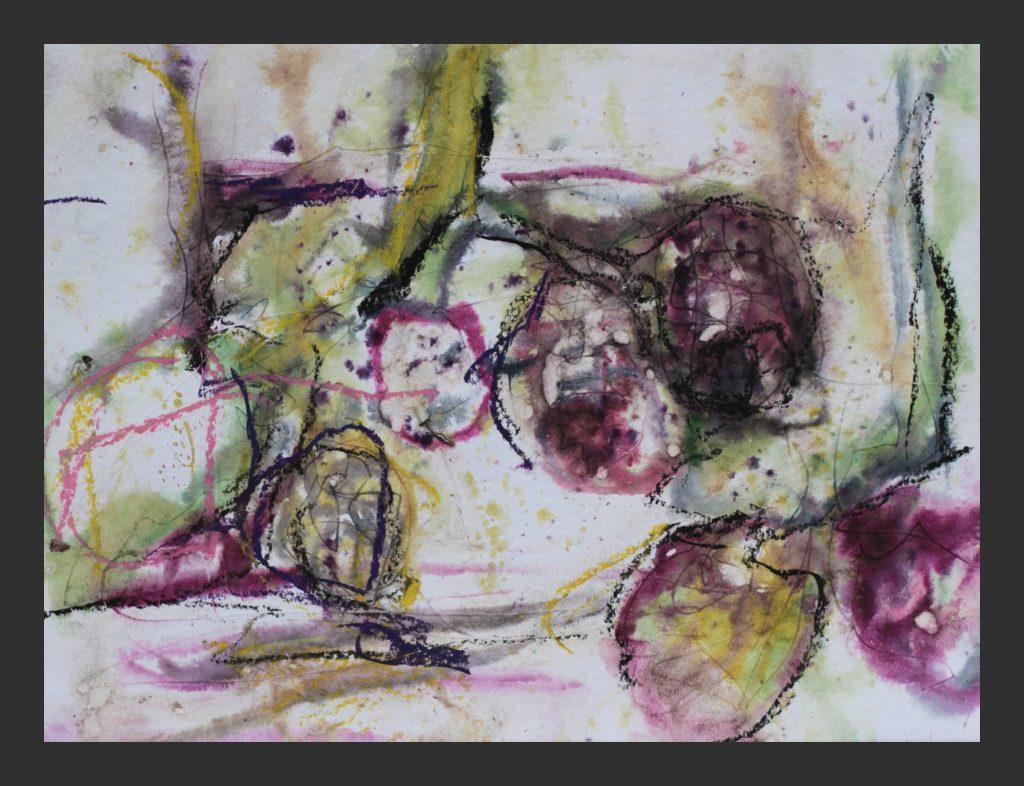 Brombeeren, 2015, Aquarell mit Wachskreide und Brombeeren, 30x40 cm