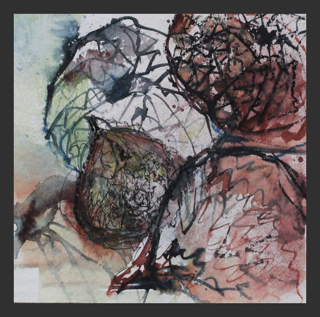 Samenkapseln, 2015, Aquarell mit Wachskreide, 25x25 cm