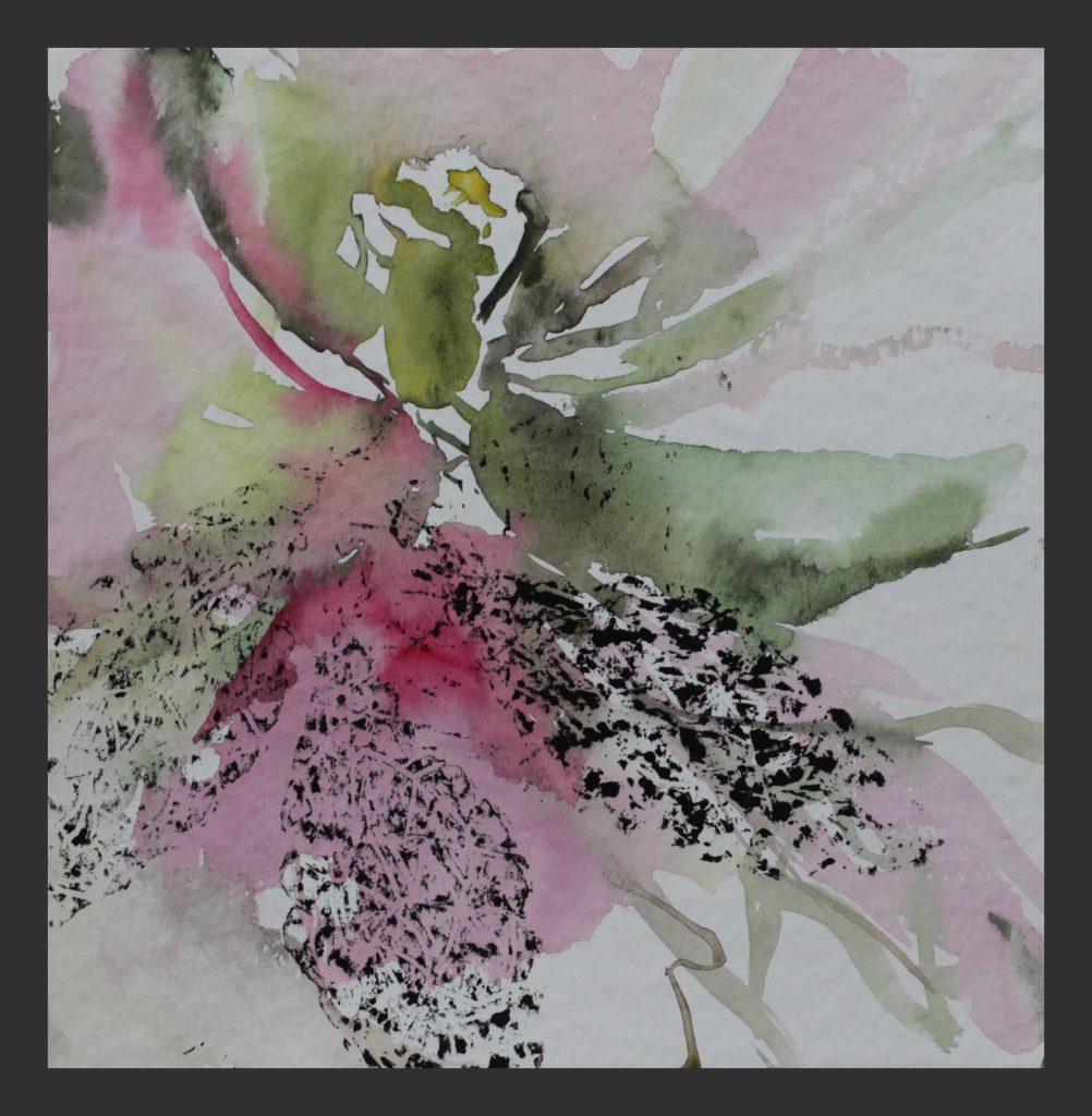 Azalee, 2013, Aquarell mit Linloldruck, 25x25 cm