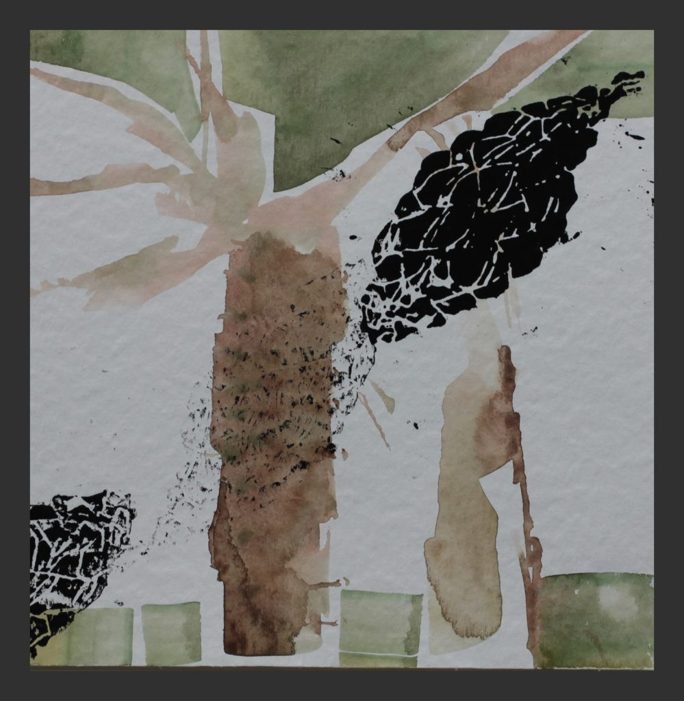 Palme, 2013, Aquarell mit Lionoldruck, 25x25 cm