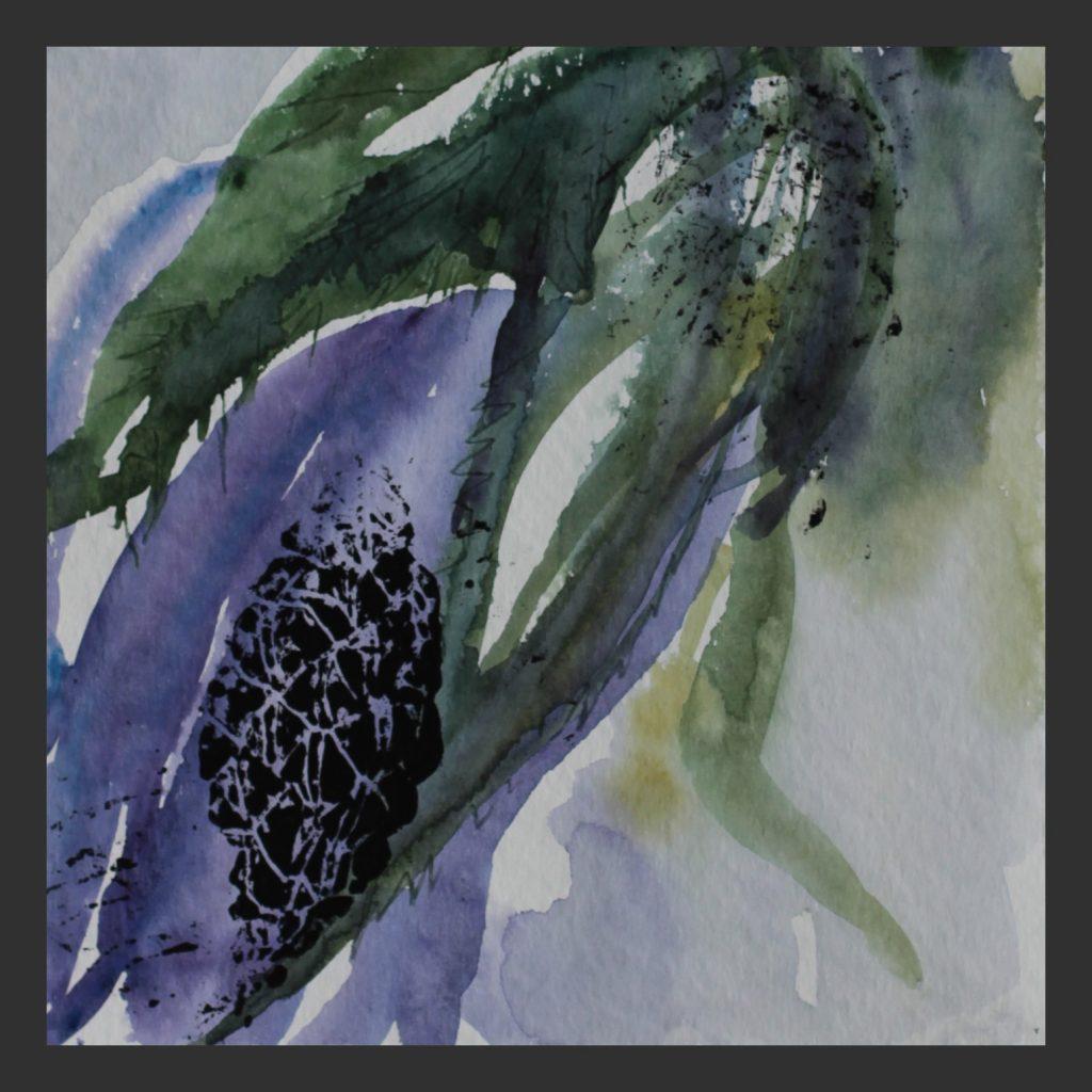 Blaue Blüte, 2013, Aquarell mit Linoldruck, 25x25 cm