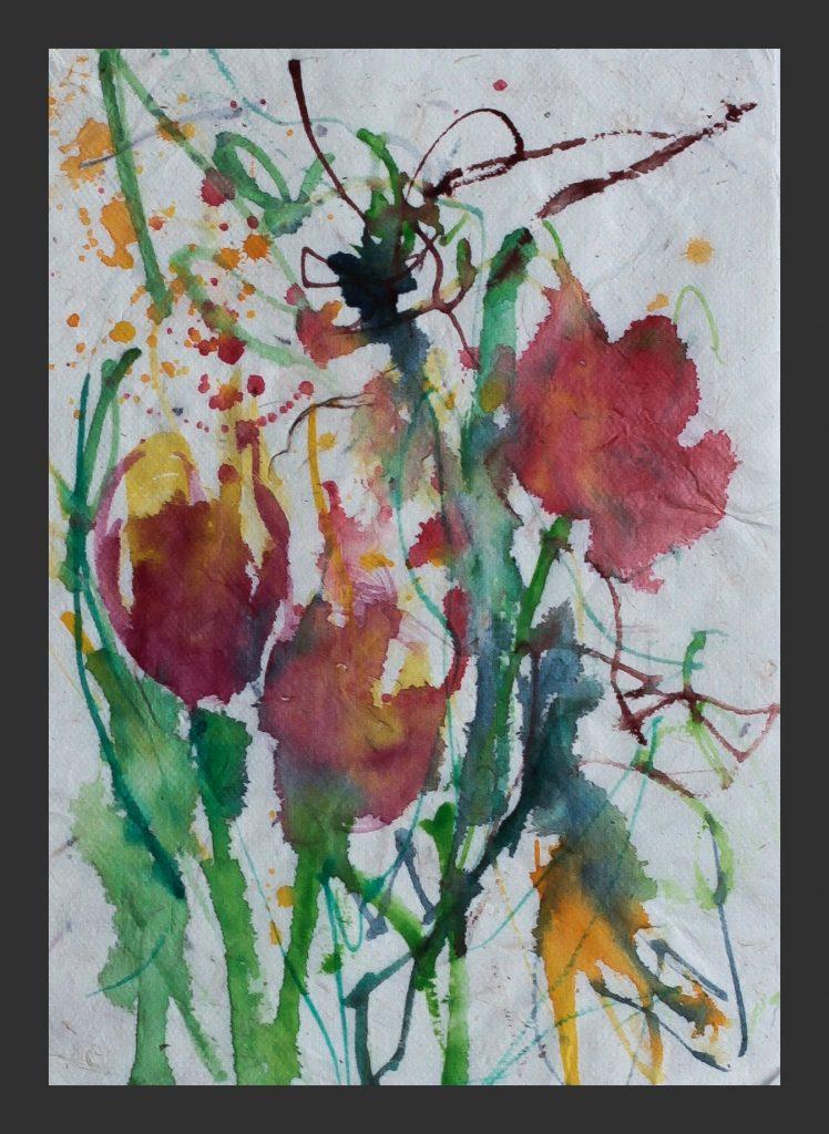 Tulpen, 2011, Aquarell auf Japanpapier, 15x21 cm