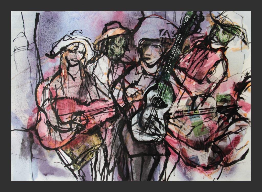 Musiker, 2016, Aquarell, 50x70 cm