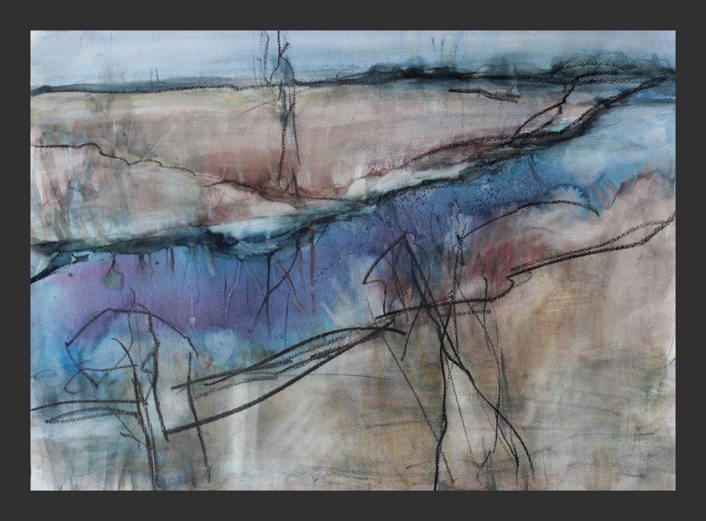 Flusslandschaft, 2015, Aquarell und Wachskreide, 50x70 cm