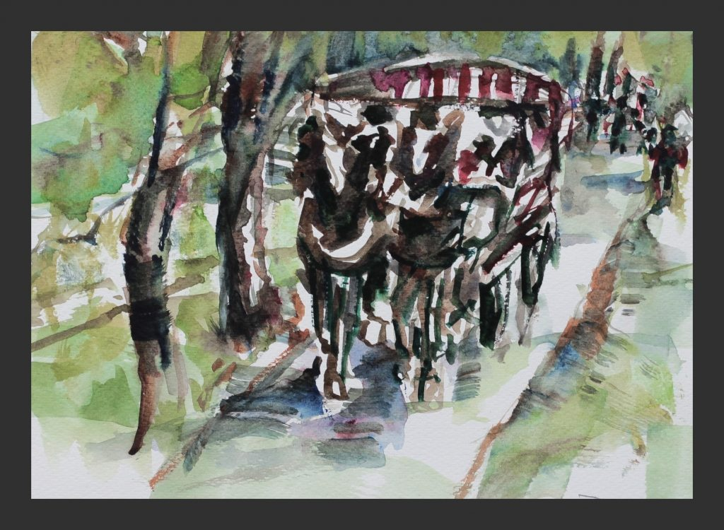 Pferdekutsche im Oytal, 2014, Aquarell, 21x28 cm