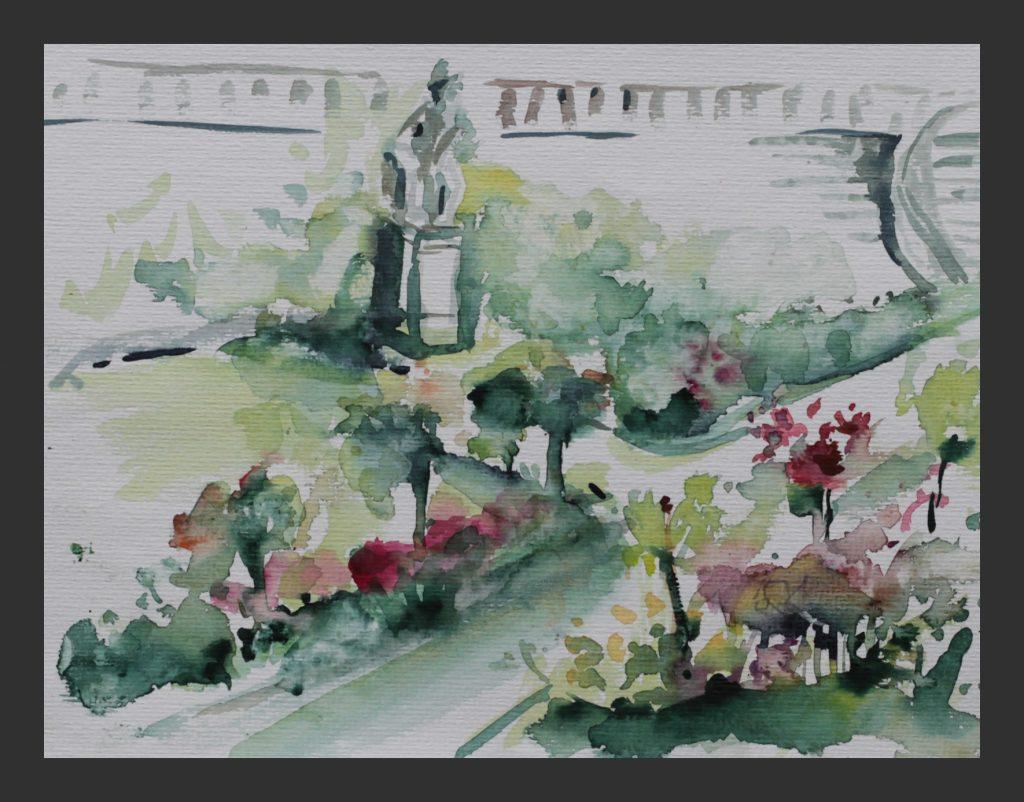 Im Rosengarten, 2009, Aquarell, 28x31 cm