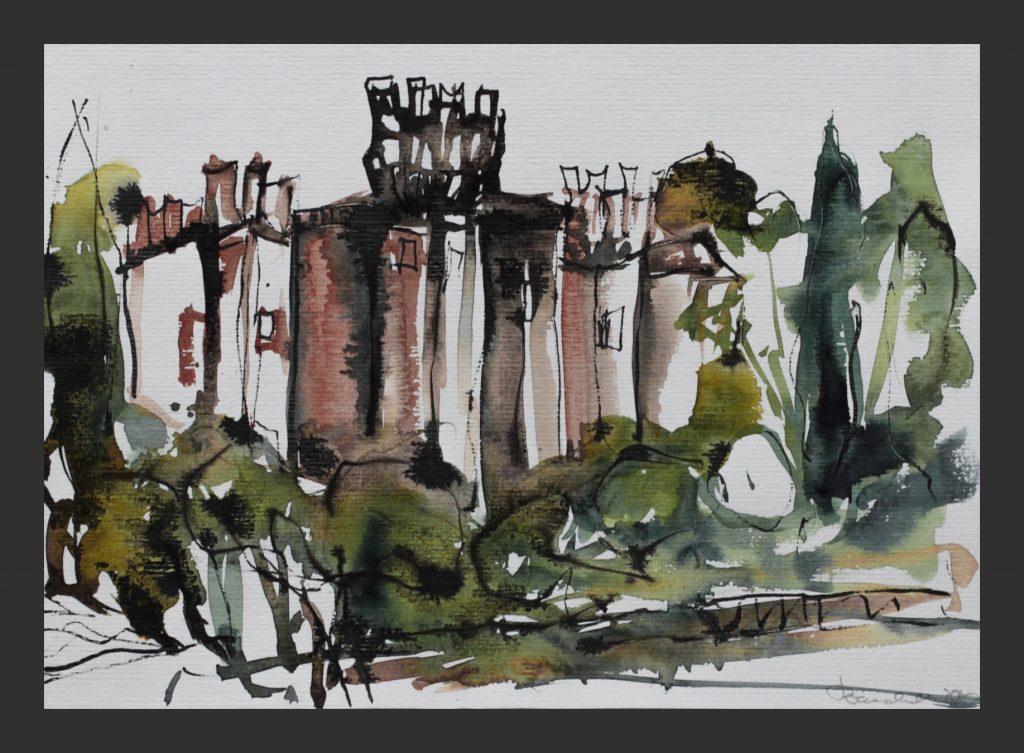 Castello Scaligero Parco Sigurta, 2012, Aquarell und Tusche, 24x32 cm
