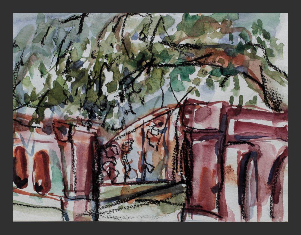 Mainau,Treppe, 2014, Aquarell, 21x28 cm