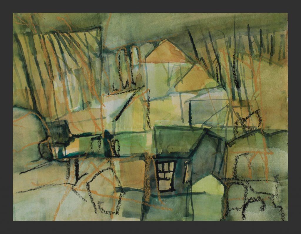 Dorf, 2016, Aquarell, 24x32 cm