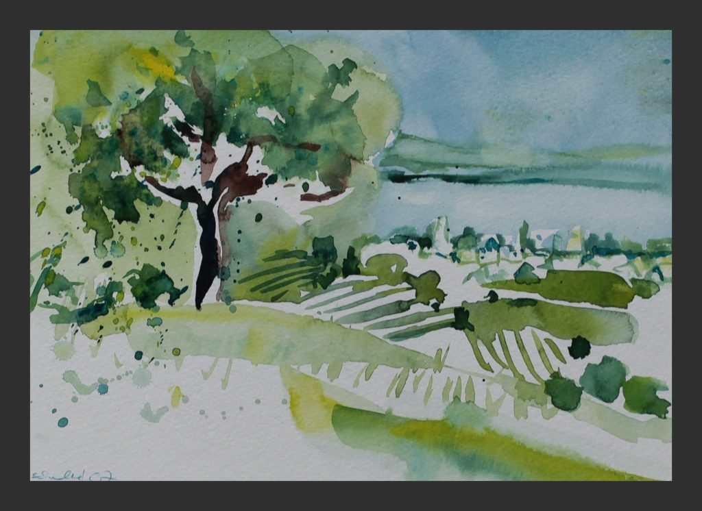 Blick auf Wasserburg, 2008, Aquarell, 21x28cm